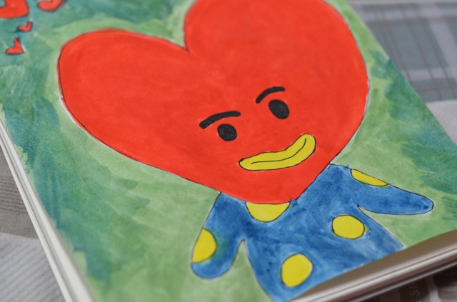 Watercolor sketch of Tata from BTS BT21 characters