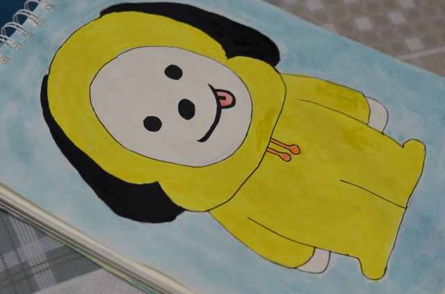 Watercolor painting of BTS BT21 character: Chimmy the passionate puppy