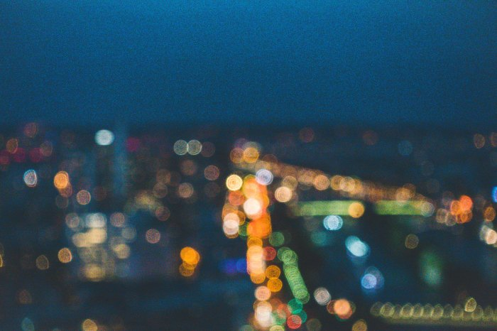 A blurred photo of city lights Photo by Sen Lin on Unsplash