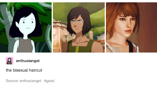 A picture of Marceline from adventure time, Korra from the Legend of Korra, and a videogame female character with short red hair.