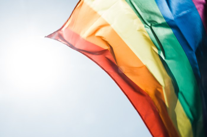 a shot of the rainbow LGBTQIA Pride Flag