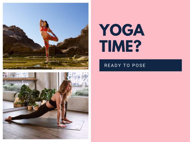 """A bright pink template with pictures of two women doing yoga poses with the text """"Yoga Time? Ready to pose"""""""
